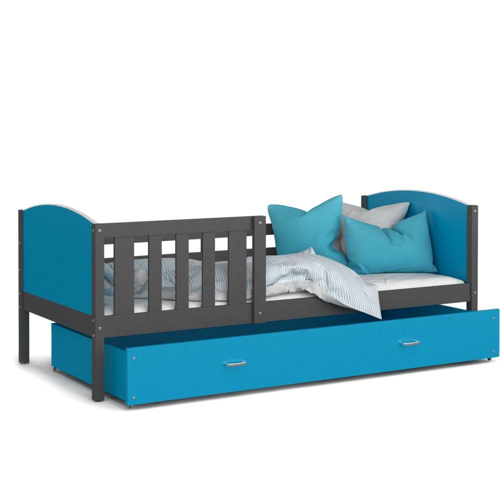 Kids Literie Lit enfant Tomy 90x190 gris bleu livré avec tiroir, sommier et matelas en mousse de 7cm offert