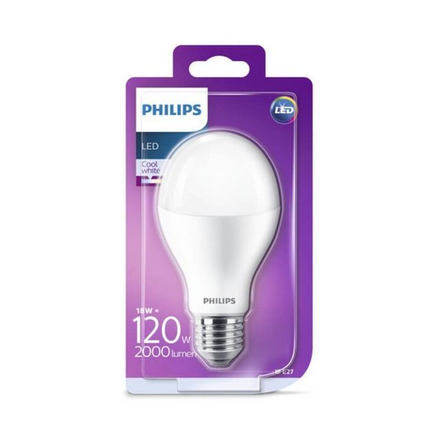 Philips - Ampoule LED E27 18W/120W - 2000lm - 4000K - Blanc froid - ampoule-led-e27-blanc-froid