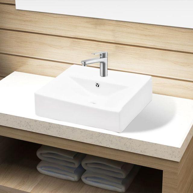 Lavabo en C/éramique Blanc /évier de Haute Qualit/é Mont/é Sur le Mur Trap/ézo/ïdal Droite Lavabo Design Moderne Pour Vestiaire Salle de Bains Cuisine