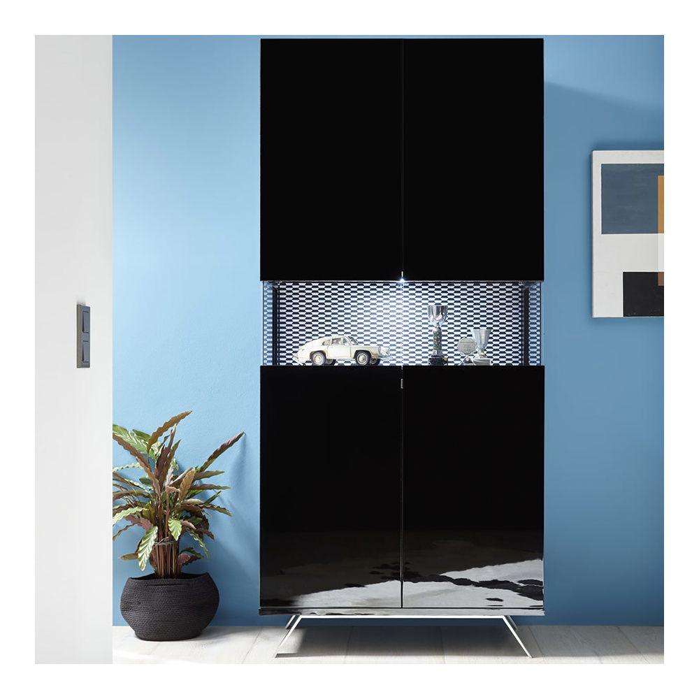 Sofamobili Vaisselier design avec LED noir laqué ROSINI 7