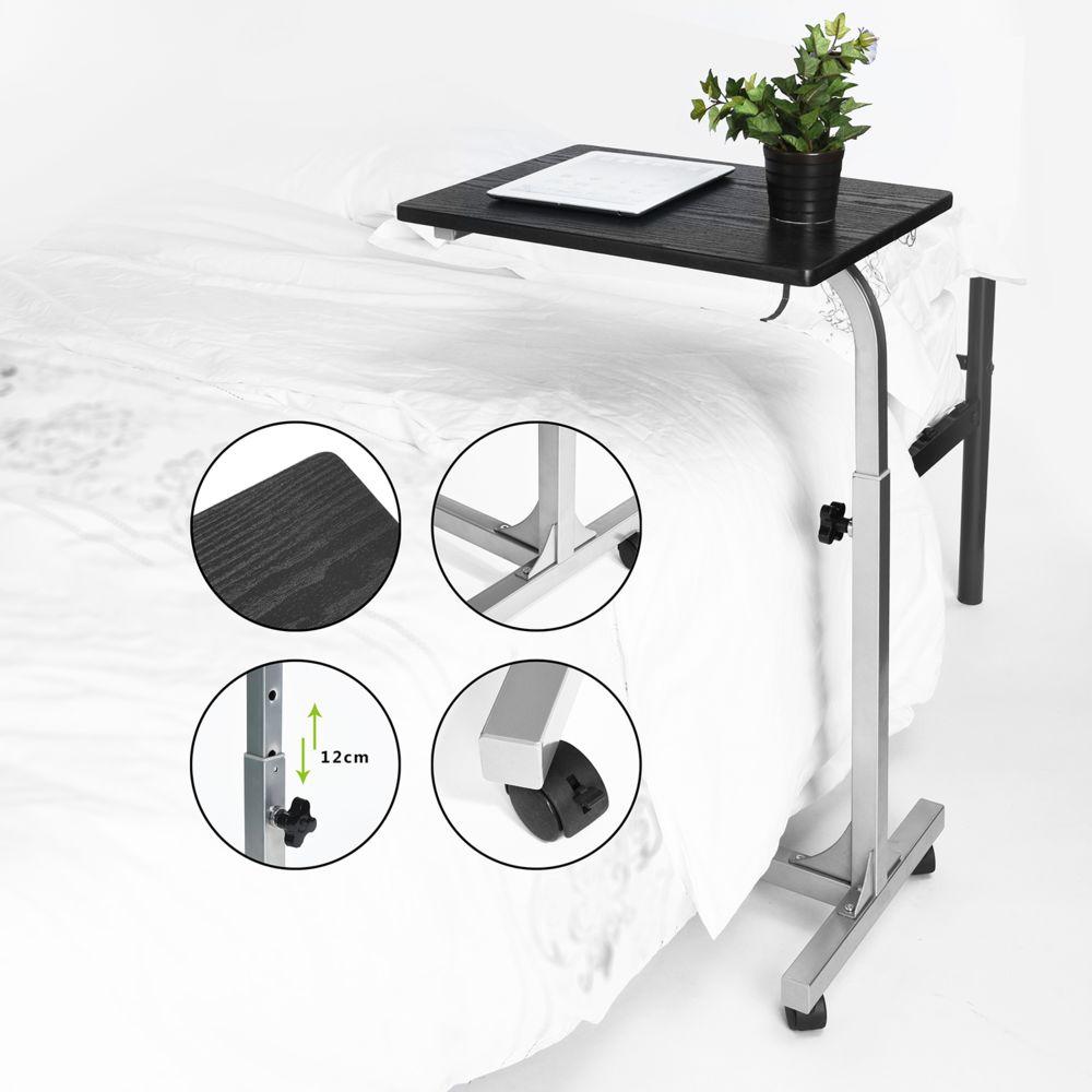 Easy Meuble Table de lit canapé support mobile noir Hauteur Réglable roulettes avec roues