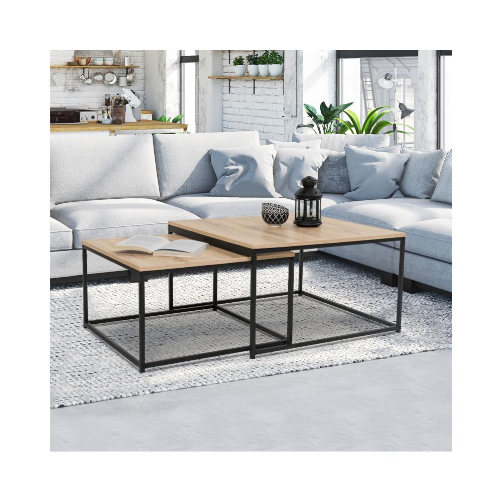Idmarket Lot de 2 tables basses gigognes DETROIT 60/70 design industriel