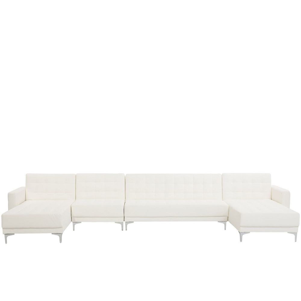 Beliani Beliani Grand canapé en forme de U en simili-cuir blanc ABERDEEN - blanc