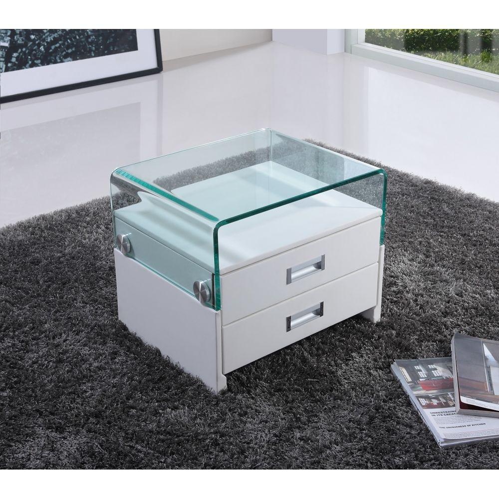Blanc CADENTRO Table de Chevet Design en Simili Cuir//VI