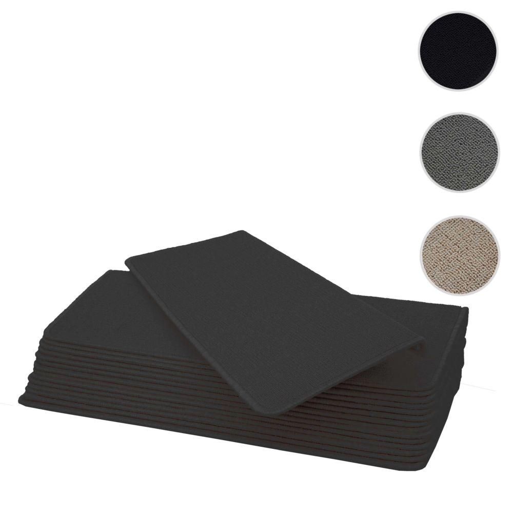 Mendler Lot de 15 tapis pour marches éscalier HWC-G49, protection d'escalier, 65x25cm ~ rectangulaire, noir-anthracite