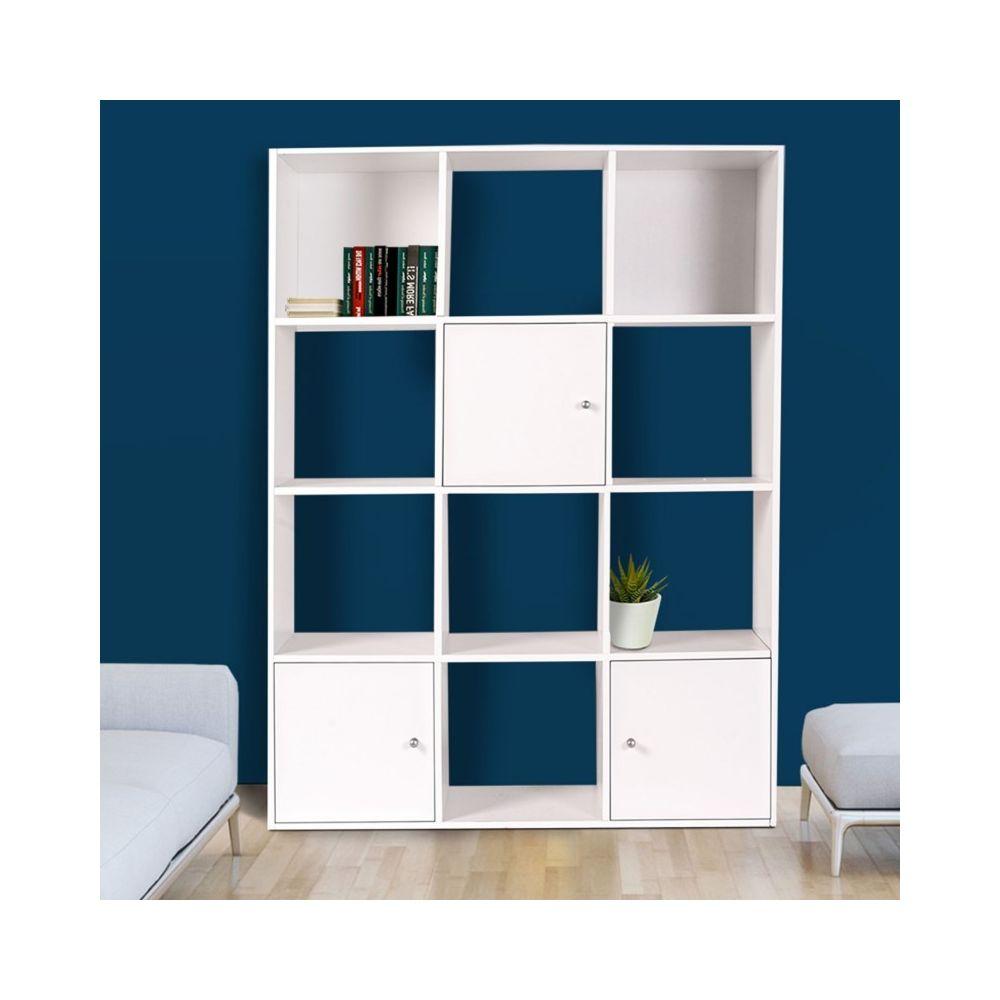 Idmarket Meuble de rangement cube 12 cases bois blanc avec portes