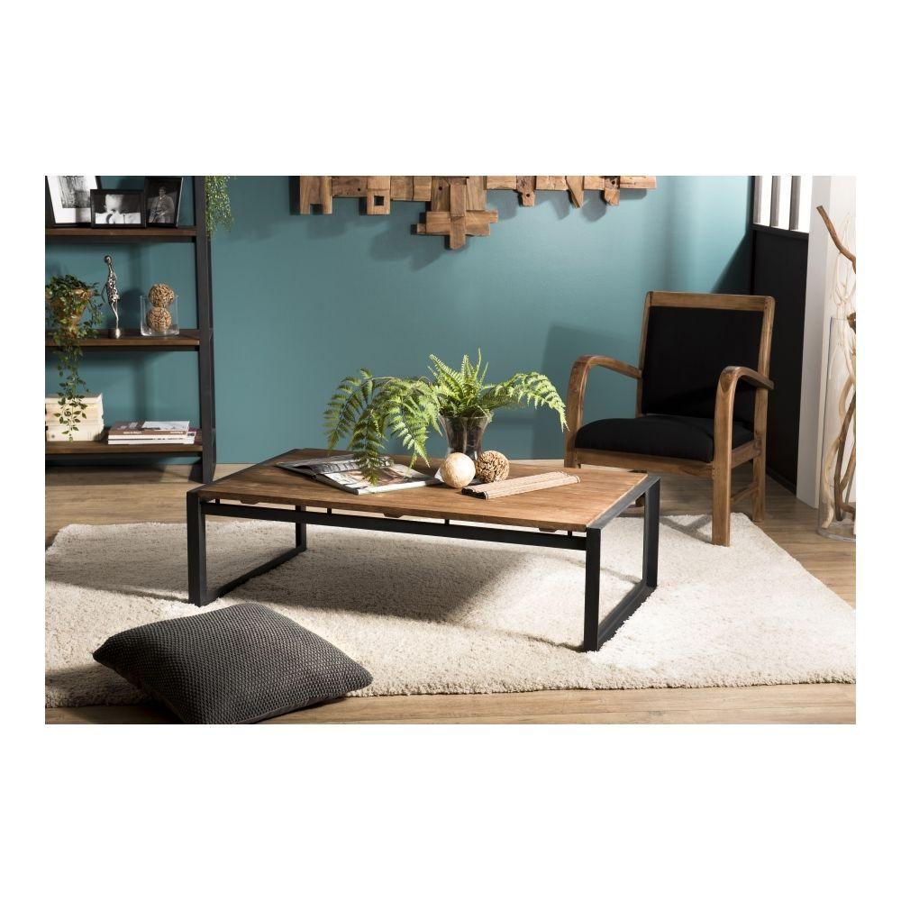 MACABANE Table basse rectangulaire 120x70cm Teck recyclé pieds métal