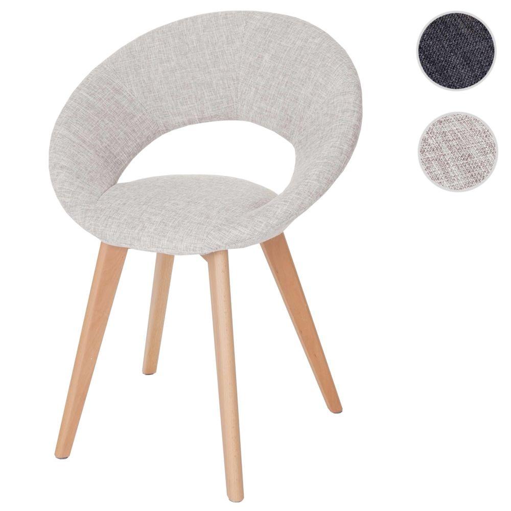 Mendler Chaise de salle à manger Palermo III, fauteuil, design rétro des années 50 ~ tissu, crème/gris