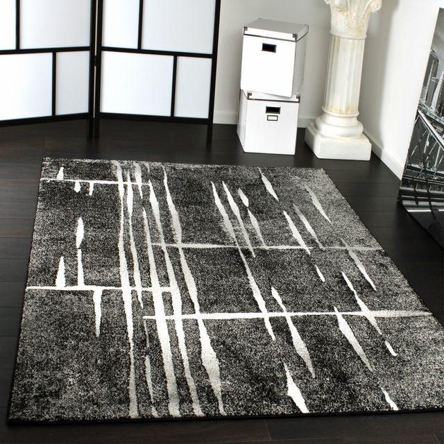tapis design moderne poil court trendy gris noir creme mouchete 120x170