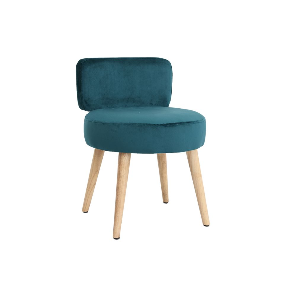 Miliboo Fauteuil design en velours bleu canard et pieds bois TANAKA