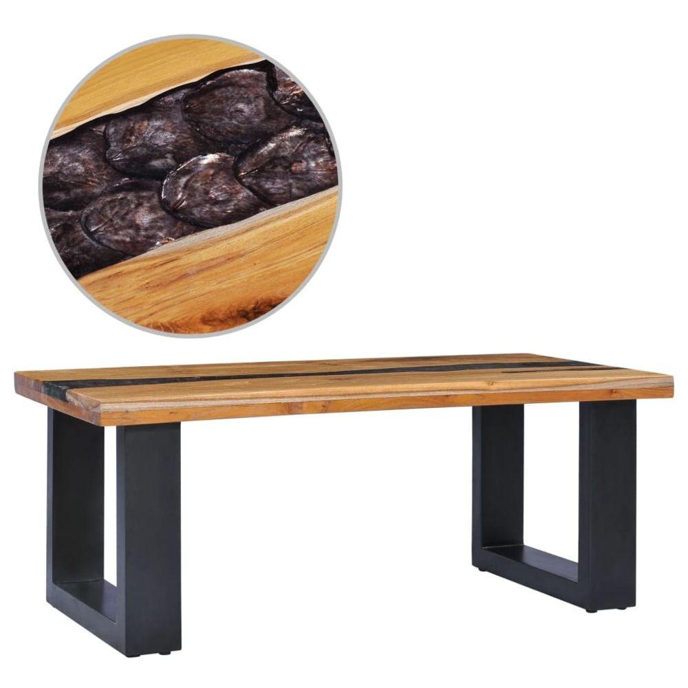 Vidaxl vidaXL Table basse 100 x 50 x 40 cm Bois de teck massif et polyrésine