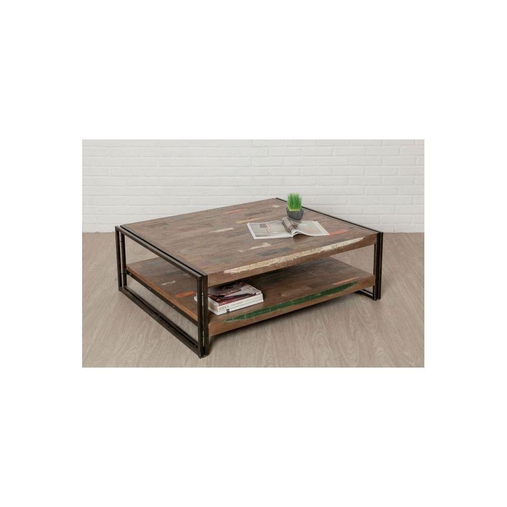 Declikdeco Table Basse Carrée en Teck recyclé et Métal PETRA