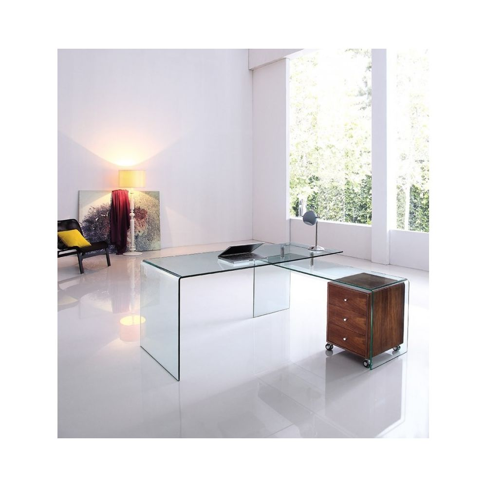 Meubler Design Bureau design en verre avec retour et caisson Ora