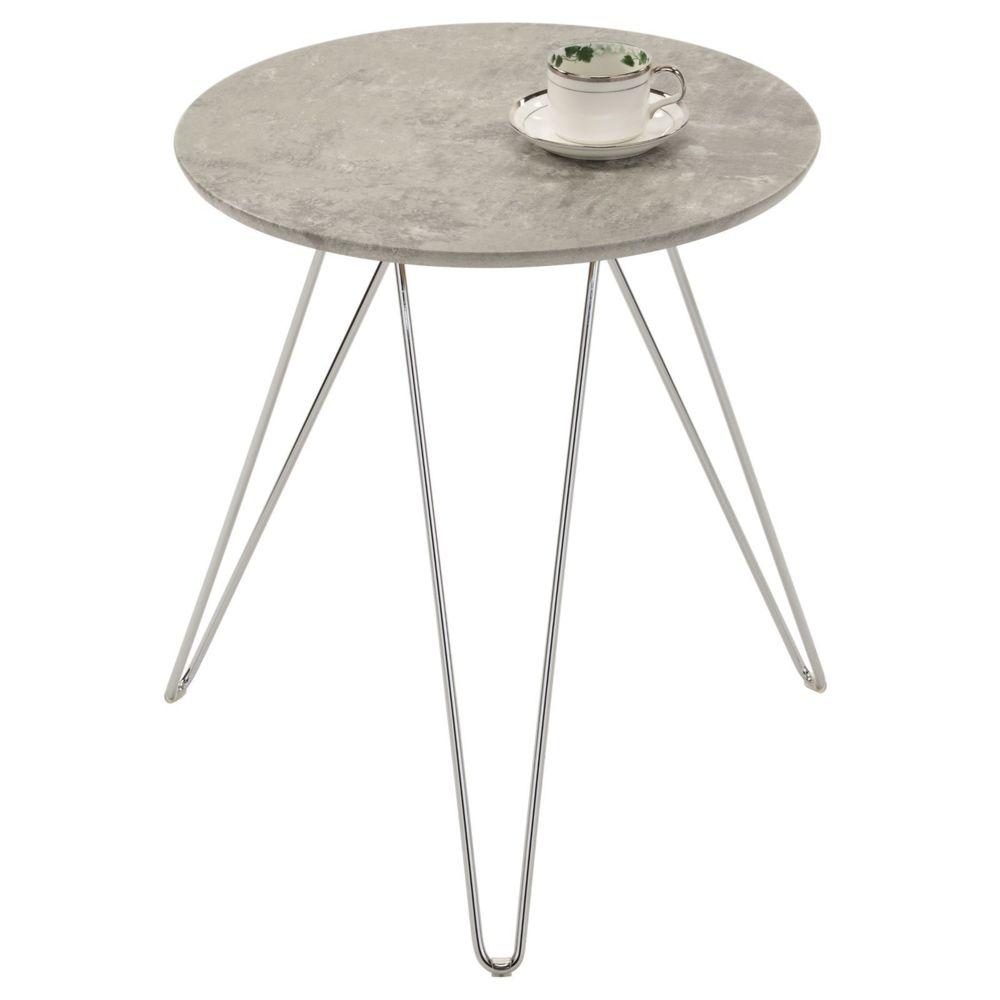 Idimex Table d'appoint BENNO table à café table basse ronde bout de canapé design retro vintage pieds épingle en métal chromé,