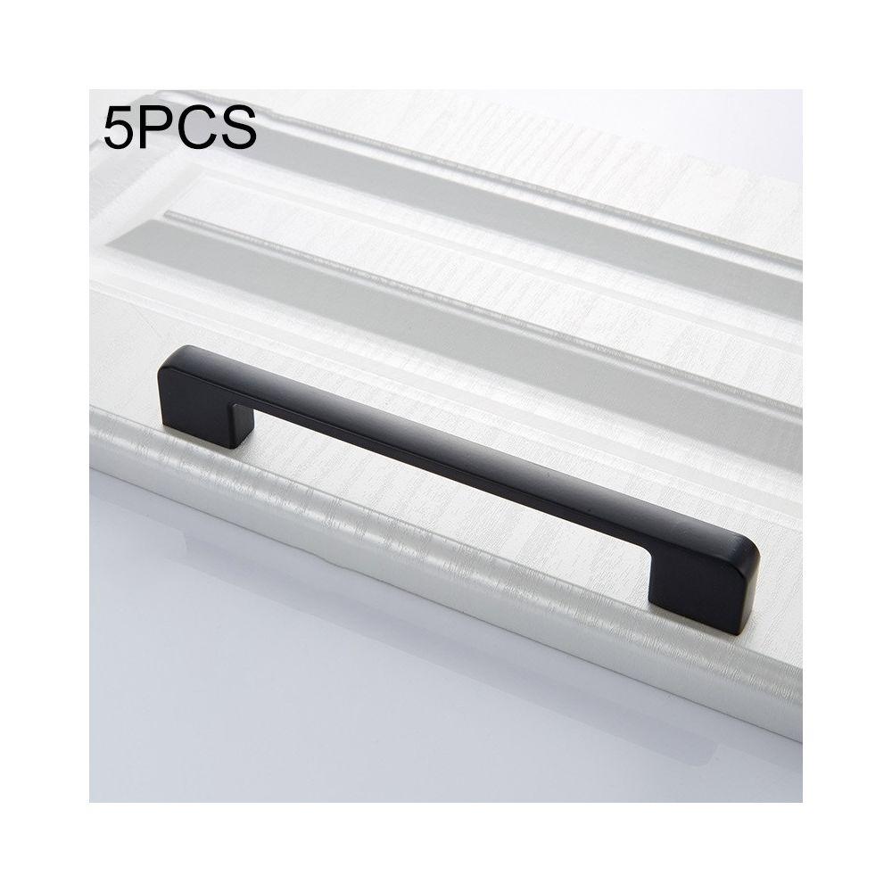 Wewoo Poignée d'armoire 5 PCS 6613-160 de porte simple tiroir en alliage de zinc noir