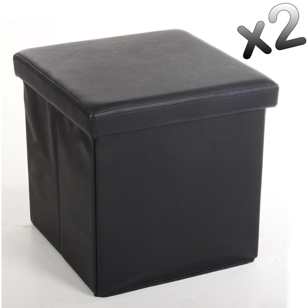 Pegane Lot de 2 poufs carrés en Polyuréthane Lilo noir, Dim : H37.5 x P38 x L38 cm
