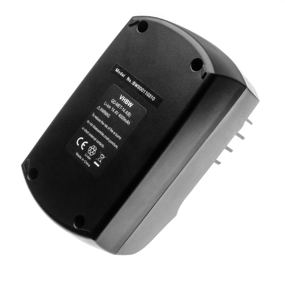 Vhbw vhbw Li-Ion Batterie 4000mAh pour outils électriques Metabo BSZ 14.4, BSZ 14.4 Impuls, SBZ 14.4 Impuls, ULA9.6-18 comme