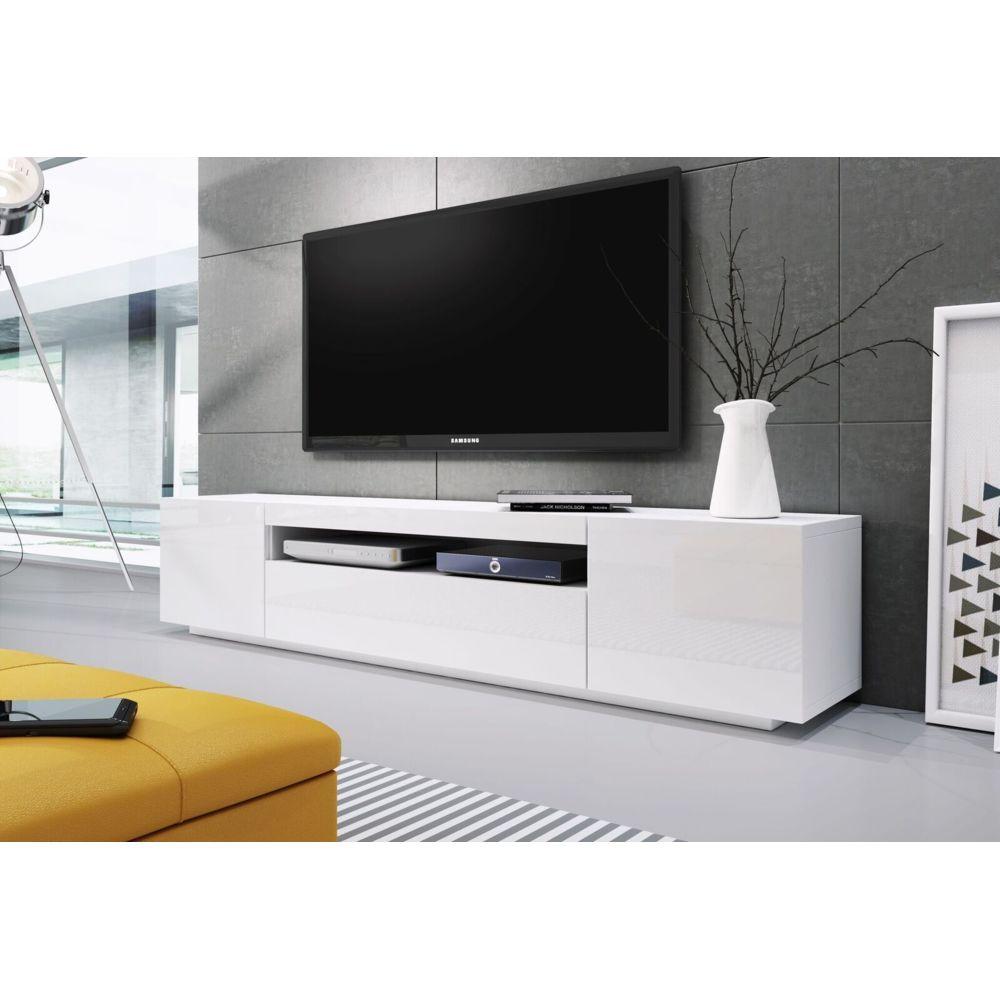 Baltic Meubles MEUBLE BANC TV BLANC LAQUE - 2M00 - MOINSCHERCUISINE