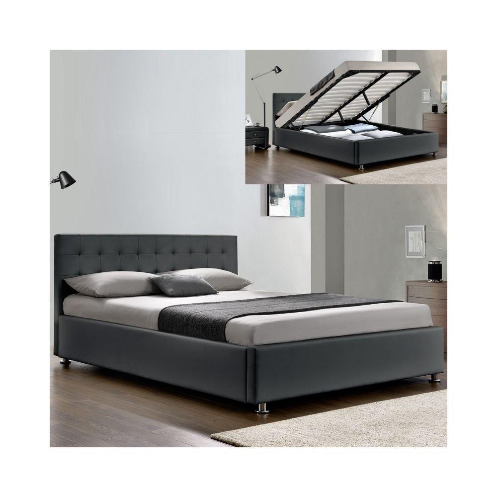 Meubler Design Lit complet sommier relevable + tête de lit + cadre de lit Capitole - Gris - 180x200