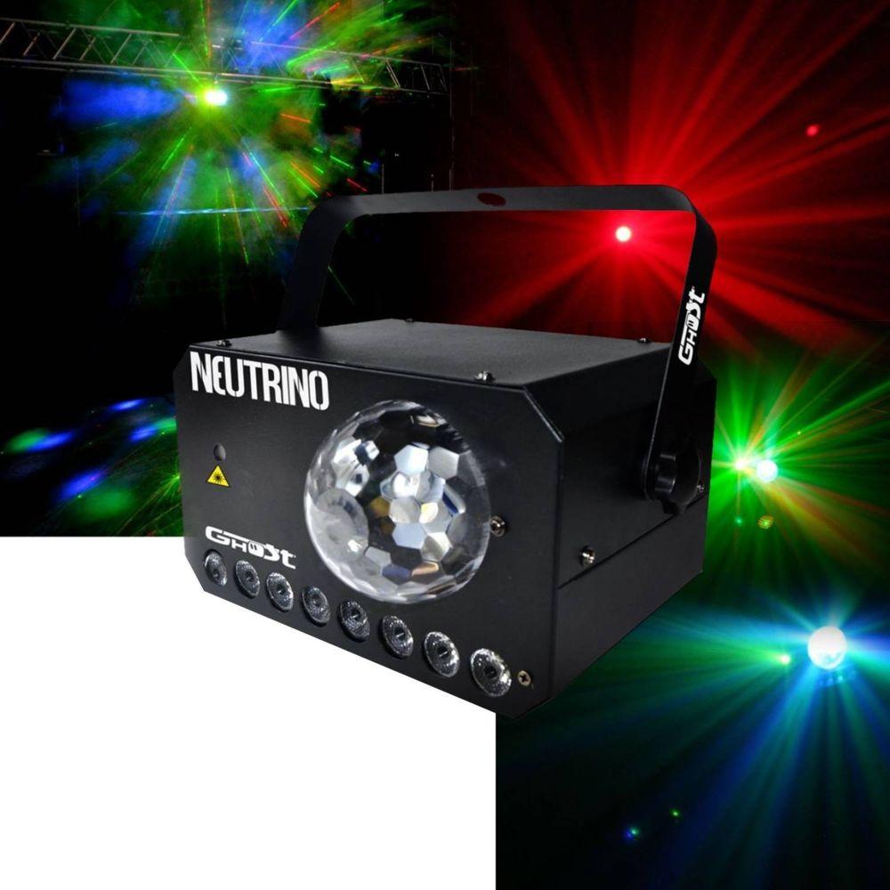 Ghost Jeu de lumière 3 en 1 - Strobe - Flower LEDs RGBW - Laser VERT/ROUGE