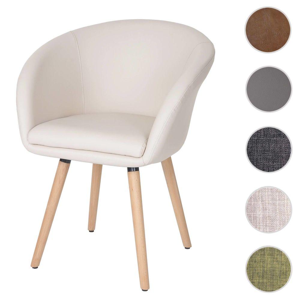 Mendler Chaise de salle à manger Malmö T633, fauteuil, design rétro des années 50 ~ similicuir, crème