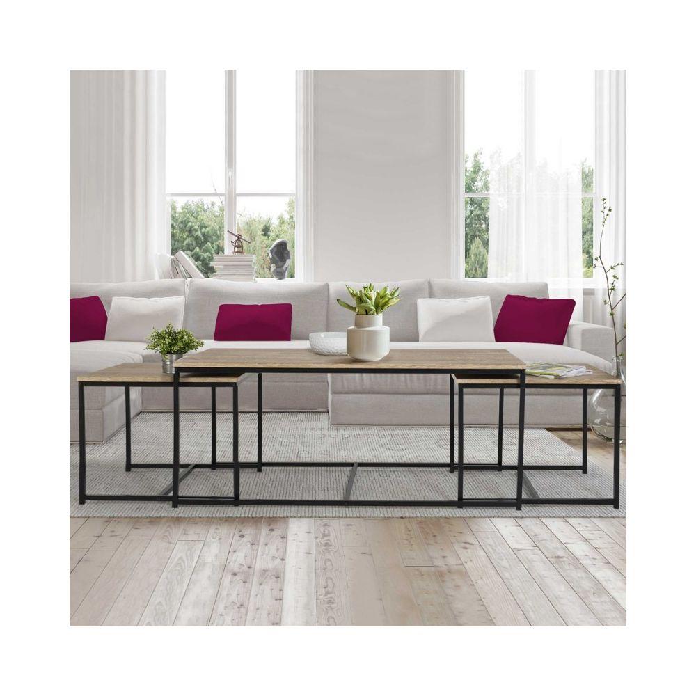 Idmarket Lot de 3 tables basses gigognes DETROIT 113 cm design industriel