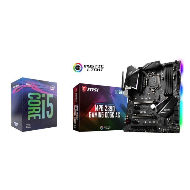 Intel - Core i5-9600KF - 3.7/4.6GHz + Intel Z390 MPG GAMING EDGE AC - ATX - Kit d'évolution Intel