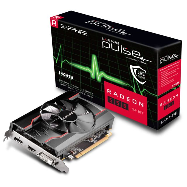 Sapphire - Radeon RX 550 - Single Fan - 2Go - Carte Graphique AMD