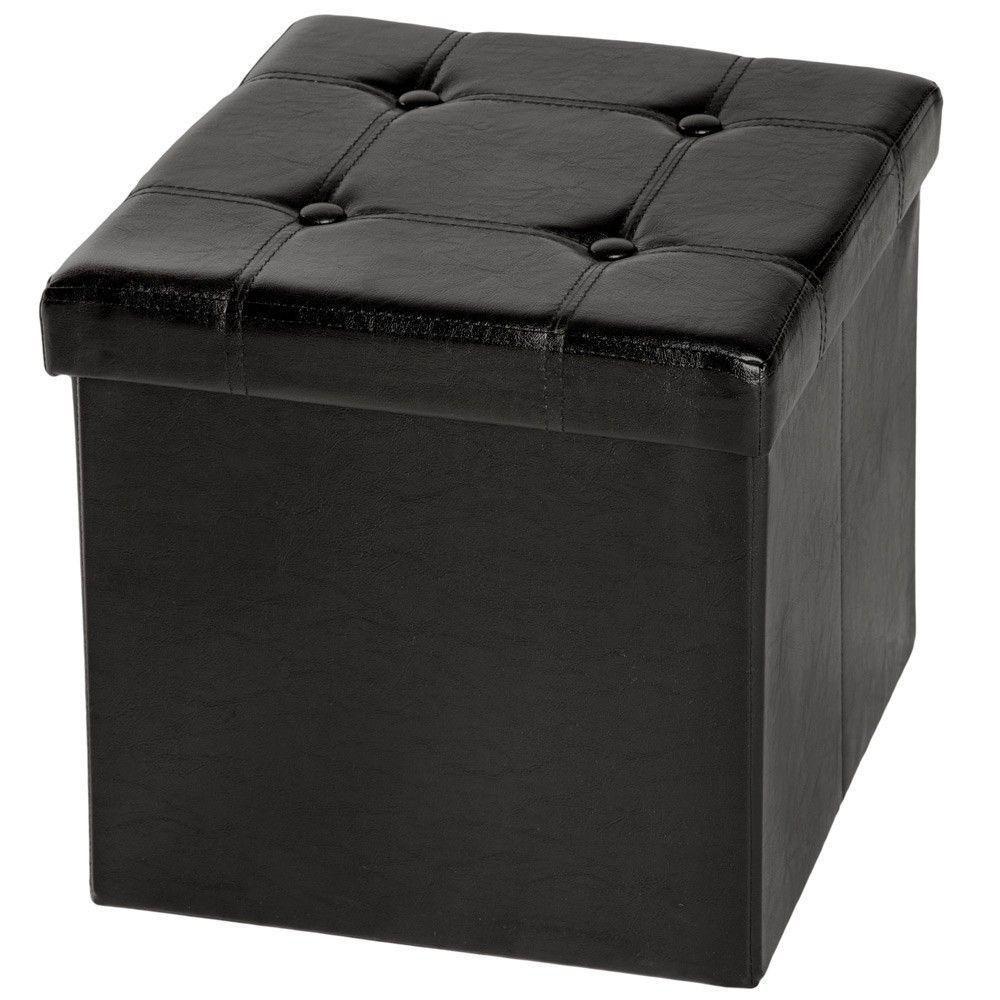 Helloshop26 Pouf coffre pliant pliable de rangement 38x38 cm salon salle à manger noir 2008069