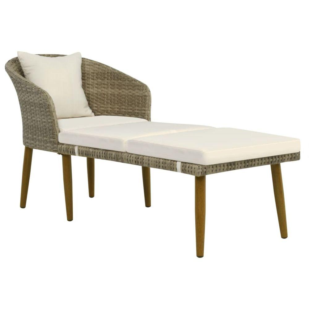 Uco UCO Chaise longue de jardin Gris/beige Résine tressée