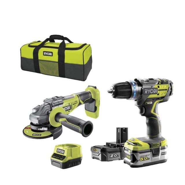 Ryobi - Pack brushless perceuse-visseuse à percussion RYOBI 18V OnePlus R18PDBL - Meuleuse d'angle 125 mm 18V OnePlus R18AG7-0 - 2 batteries - chargeur rapide R18CK2BL-252S - Perceuses, visseuses sans fil