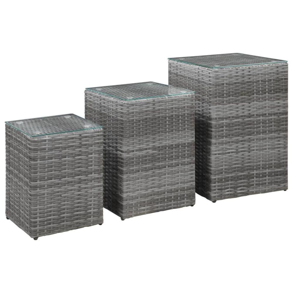 Uco UCO Tables d'appoint 3 pcs et dessus en verre Gris Résine tressée