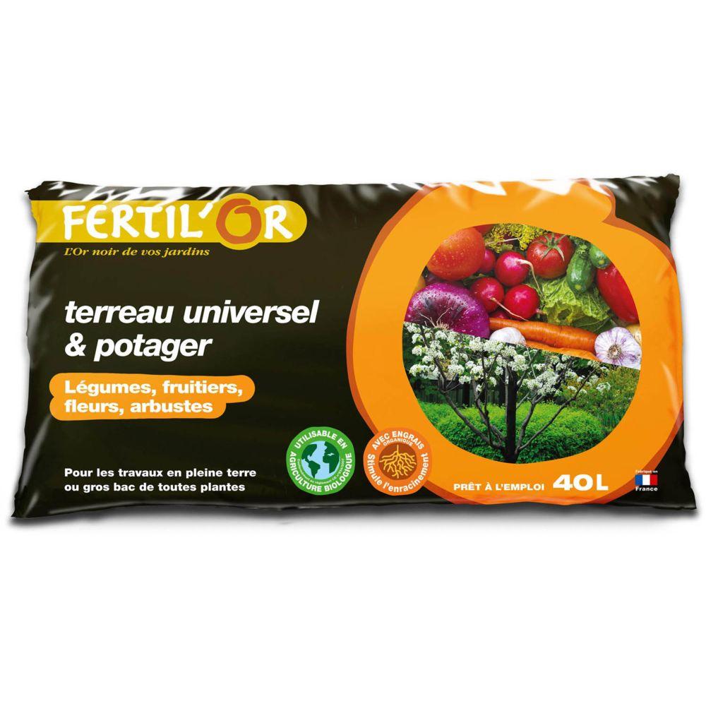 Fertilor Terreau universel et potager pleine terre ou bac 40 litres
