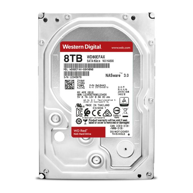 Western Digital -WD RED 8 To - 3.5'' SATA III 6 Go/s - Cache 128 Mo - Rouge Western Digital  - Disque Dur interne