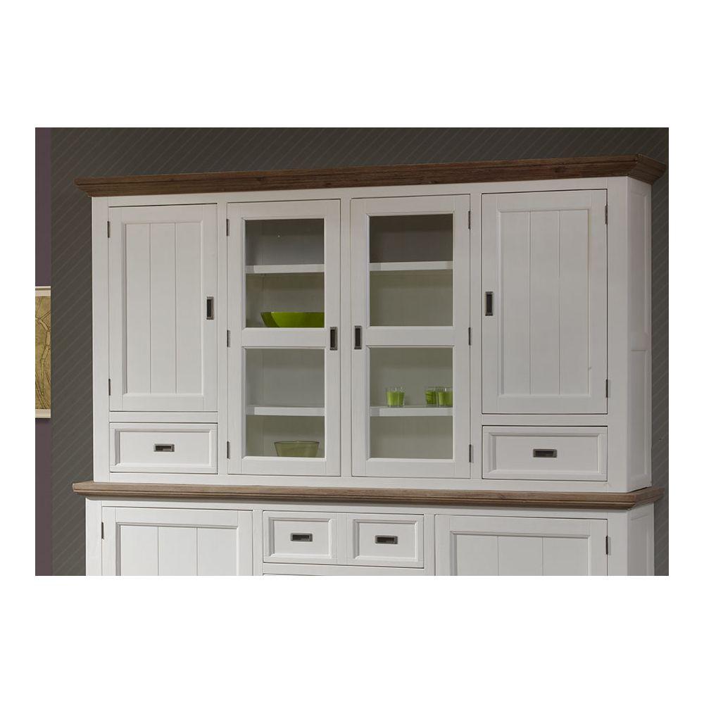 Kasalinea Rehausse vaisselier contemporain bois massif couleur blanc EMELINE