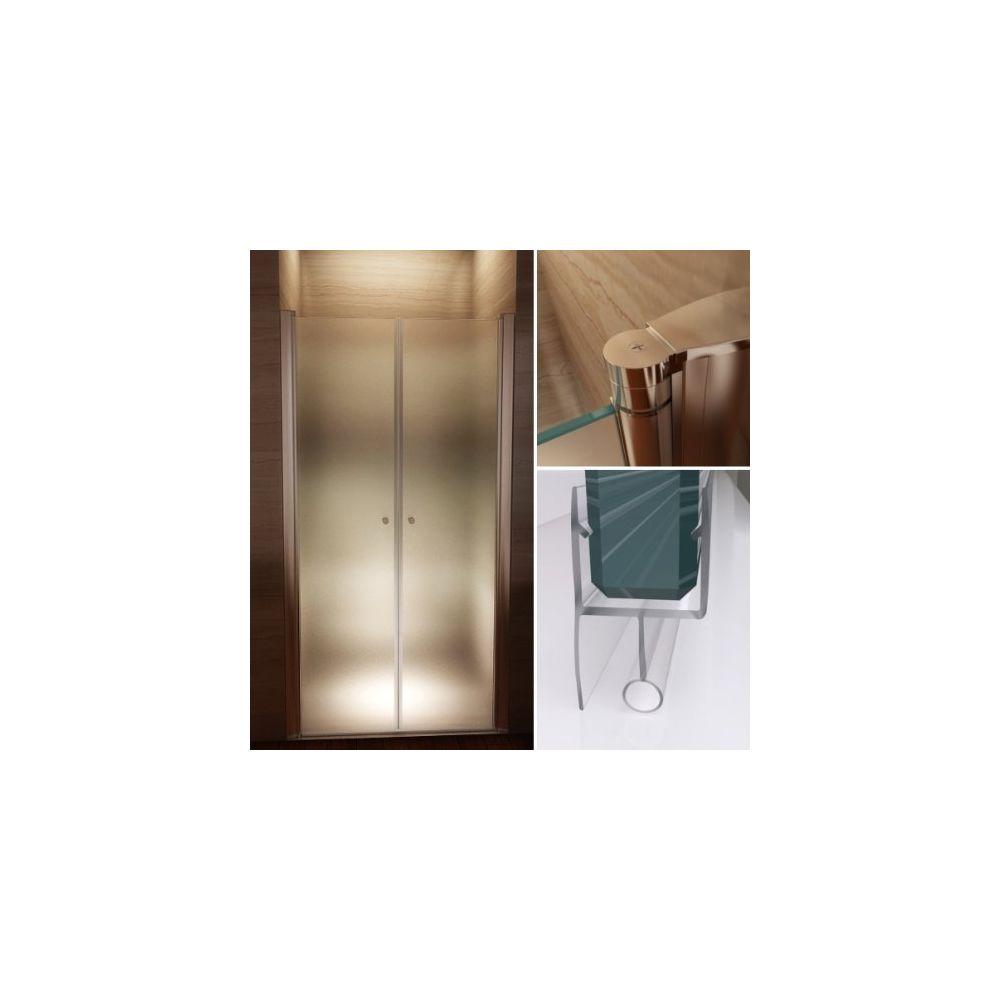 Cadentro Porte de douche hauteur 195 cm - largeur réglable / verre dépoli avec traitement nano anti-calcaire (80-84 cm, dépoli /