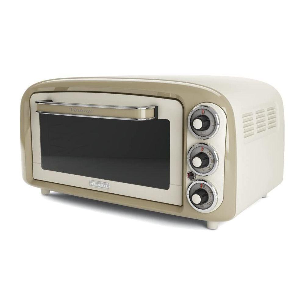 Ariete Four électrique vintage de 18L avec minuterie 1380W en Acier Inoxydable Beige Pastel