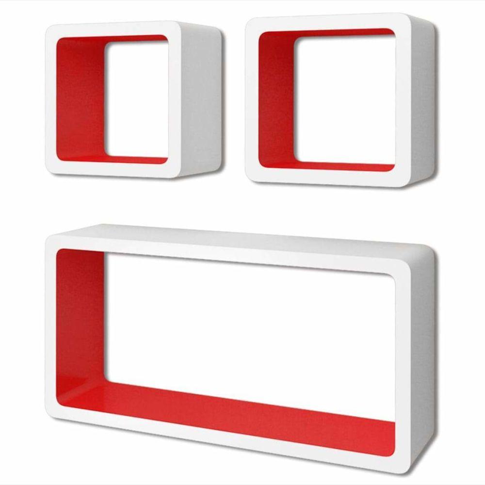 Helloshop26 Étagère armoire meuble design murales forme de cube 6 pcs blanc et rouge 2702244/2