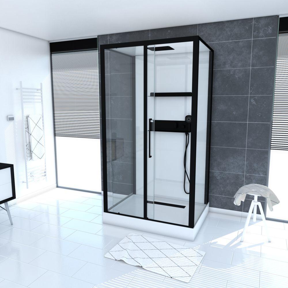 Aurlane Cabine de douche rectangle 90x115x215cm extra blanc - profilés laqué noir mat - GHOST RECTANGLE