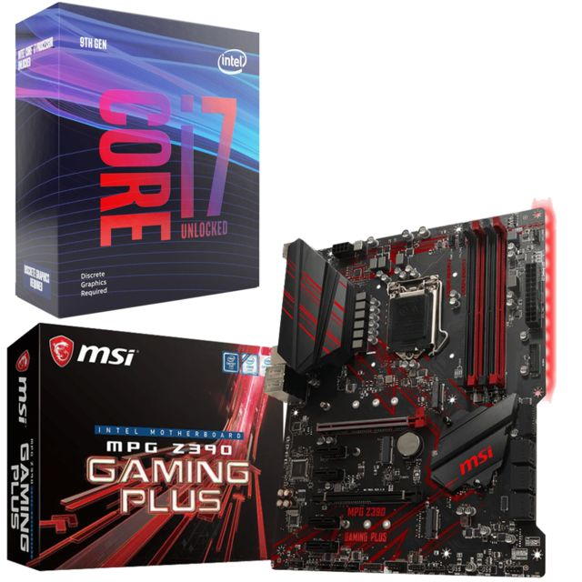 Intel -Core i7 9700K - 3,6/4,9 GHz + Intel Z390 MPG GAMING PLUS - ATX Intel  - Kit d'évolution Intel