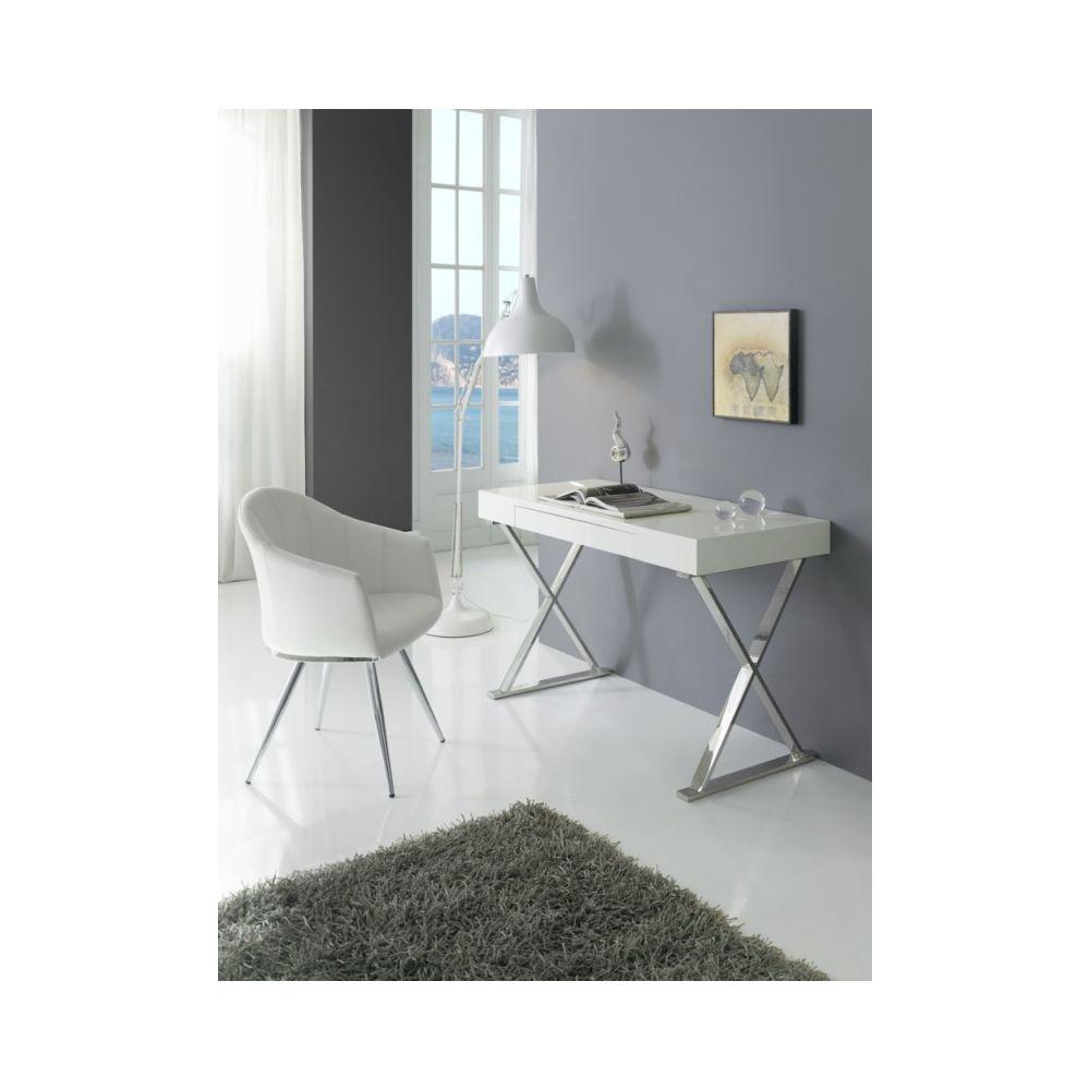 Ma Maison Mes Tendances Bureau 1 tiroir en MDF laqué blanc et pieds en acier JEFFREY - L 120 x l 55 x H 76