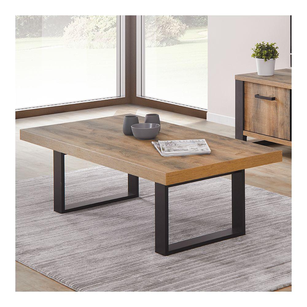 Nouvomeuble Table basse industrielle couleur bois foncé ONNIX