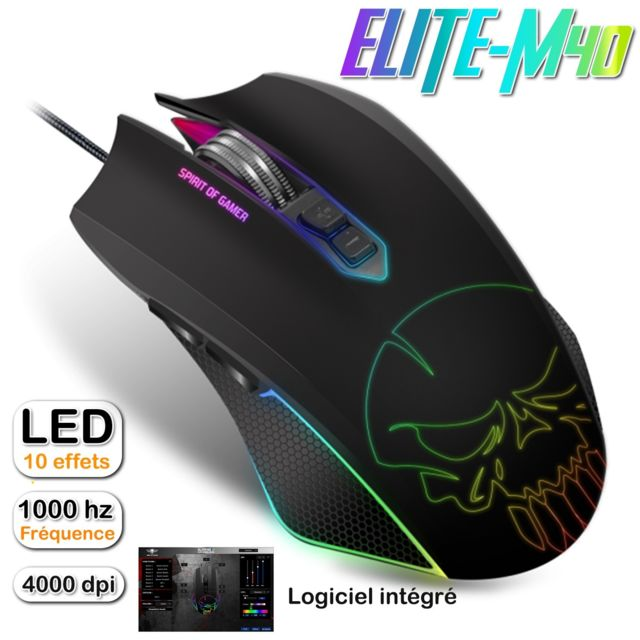 Spirit Of Gamer - Souris gamer optique ELITE-M40 Skull - 4000 dpi - RGB - 7 boutons programmables - Souris Gamer