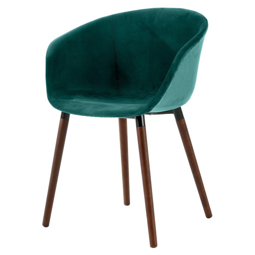 Rendez Vous Deco Chaise Dolly en velours vert canard