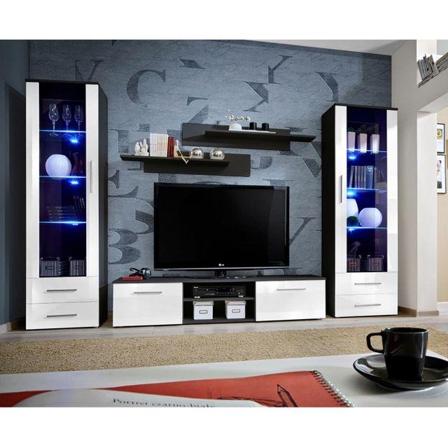 ensemble meuble tv bibliotheque galino iii black blanc