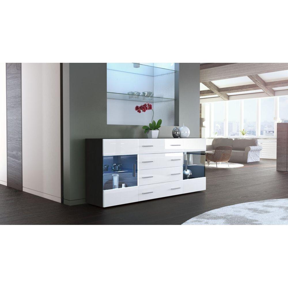 Mpc Buffet design mat noir et blanc laqué avec led
