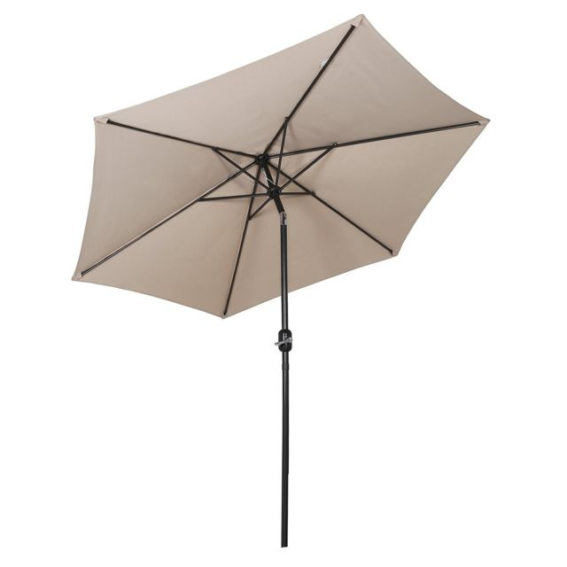 Sekey - 2.7m Parasol inclinable pour Patio Jardin Balcon Piscine Plage Rond Sunscreen UV50+ Taupe - Parasols