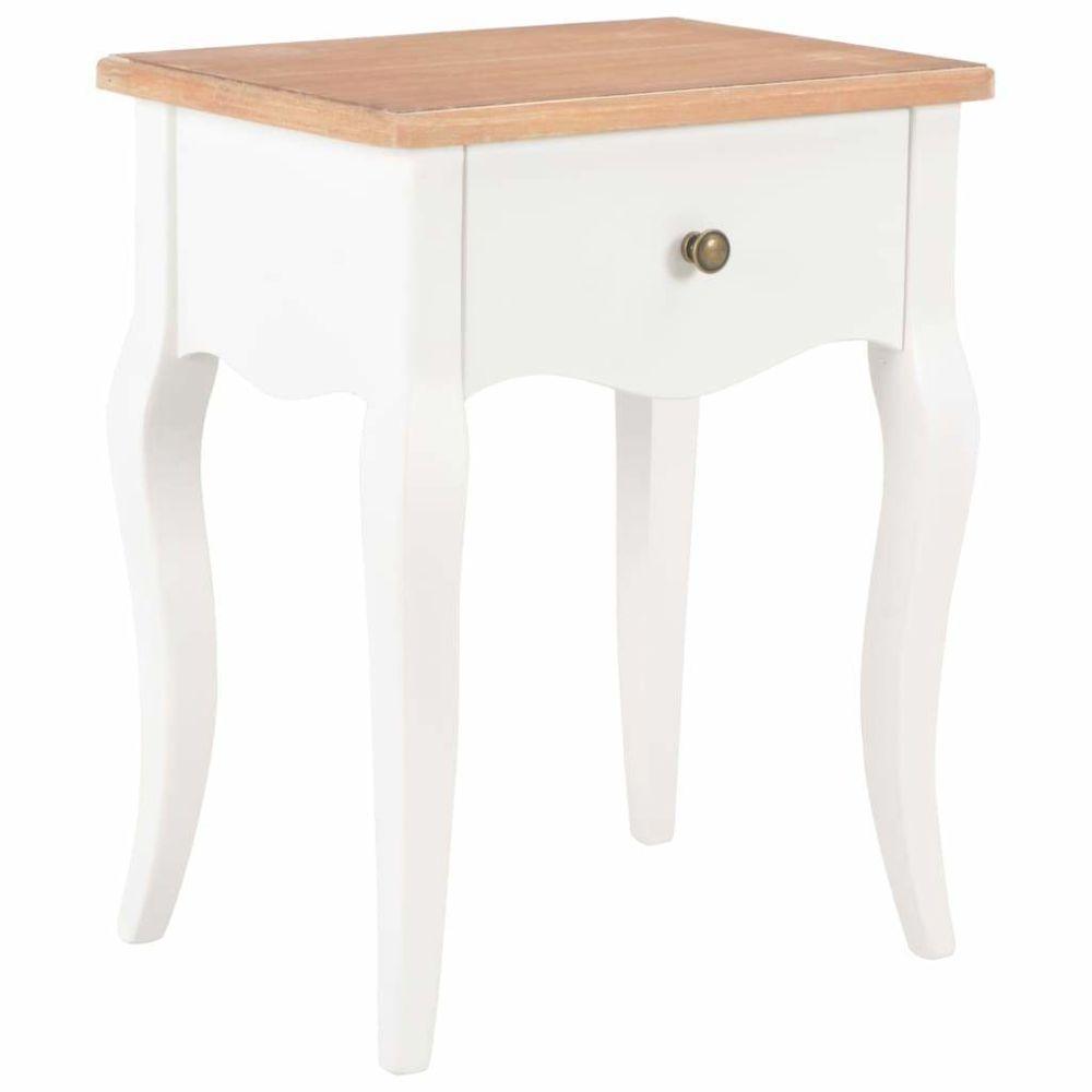Helloshop26 Table de nuit chevet commode armoire meuble chambre blanc et marron 40x30x50 cm bois de pin massif 1402112