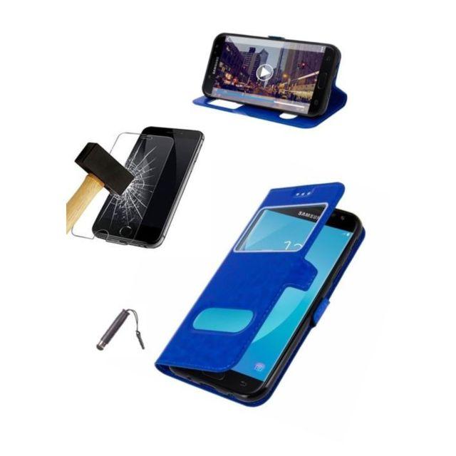Etui Housse Coque Bleu Huawei Honor 7X Film verre trempé Stylet