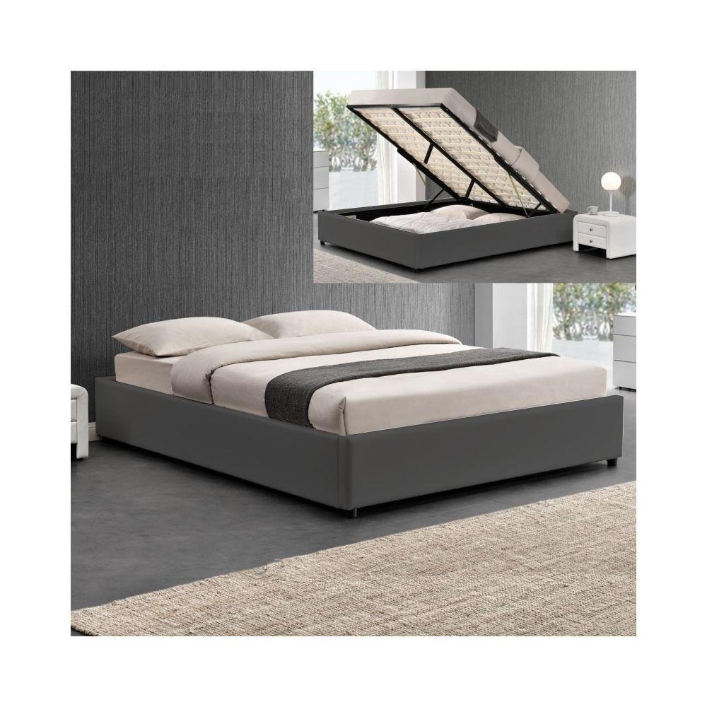 Meubler Design Sommier coffre de rangement Room - Gris - 140x190